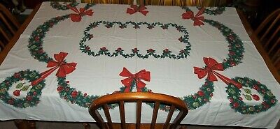 $ CDN23.51 • Buy Vintage Christmas Wreath Swags Red Bows & Ornaments 57 X 53 Tablecloth