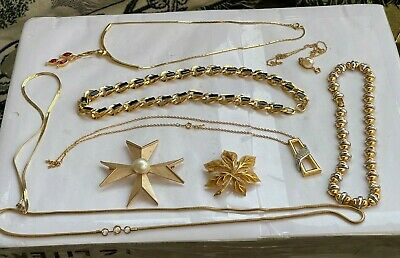 $ CDN12.44 • Buy LOT Vintage Jewelry Brooches D' Orlan Trifari Necklaces Gold Tone Deco LOOK WOW