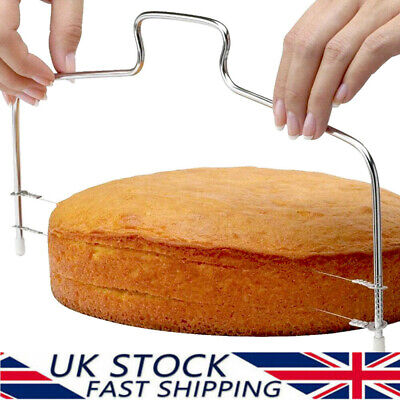 £4.29 • Buy Cake Leveller Wire Slicer Cutter Double Line Adjustable Layer Cutting Tool UK