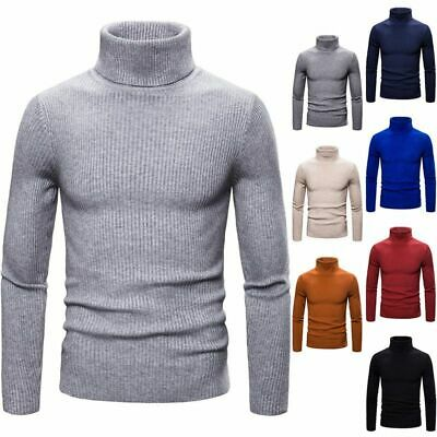 Mens Cable Knitted Turtle Polo- Neck Jumper Casual Winter Warm Sweater Pullover • 13.16£