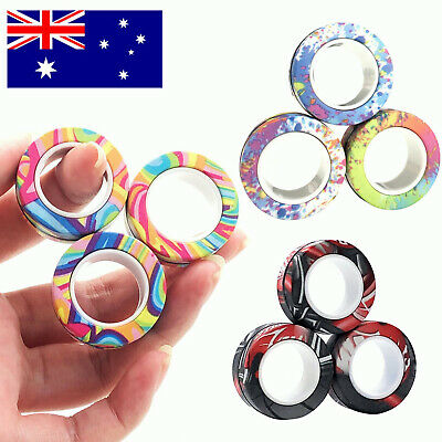 AU9.99 • Buy Finger Magnetic Rings Anti-stress Finger Toy Rotating Magnetic Ring AU Stock