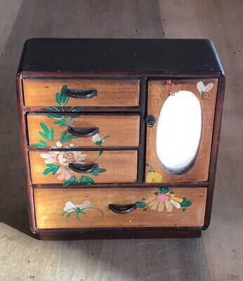 A Lovely Antique Small Wooden Hand Painted Japanese Cabinet. 15cm Tall. • 14.99£