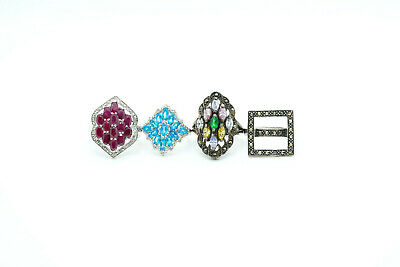 $ CDN126.23 • Buy LOT Of 4 Sterling Silver Colored Stone Glass & Marcasite Cluster Rings, 25.5g