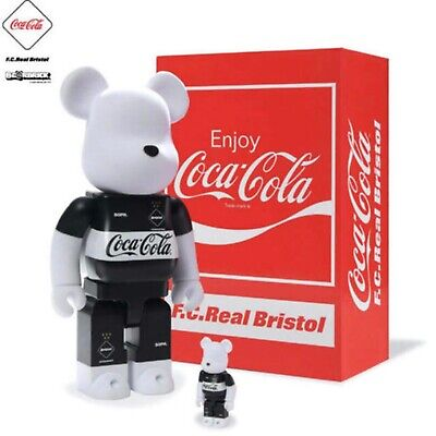 $330 • Buy F.C.Real Bristol Coca Cola Bearbrick 100% 400% Set Figure Black From JAPAN