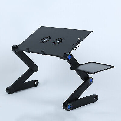 Adjustable Laptop Bed Table Stand Lap Tray Foldable Desk With Cooling Fan C1B1 • 15.54£