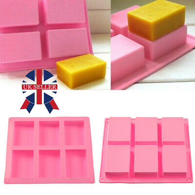 6 Cavity Silicone Rectangle Soap Mould Homemade DIY Cake Making Mold Craft • 4.59£
