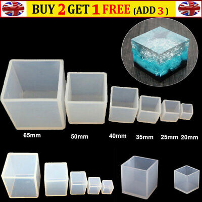 £7.62 • Buy Resin Casting Silicone Square Cube Mold For DIY Making Jewelry Pendant 20-65MM
