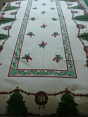 Christmas Table Cloth Cotton/polyester Mix 88  X 52  Christmas Tree Holly Gifts • 15£