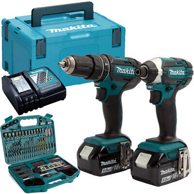 Makita DLX2131TJ 18V LXT Twin Kit 2 X 5.0Ah Batteries With 101 Piece Drill Set • 288£