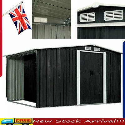 Metal Garden Shed Outdoor Storage House Tool Sheds With Sliding Doors Anthracite • 471.76£