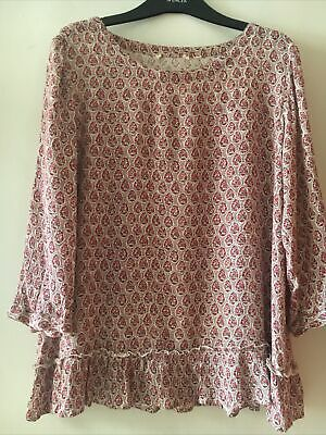 FAT FACE MAROON PINK FLORAL 3/4 Sleeve BOHO TOP GYPSY BLOUSE Size 10 12 Crinkle • 3£