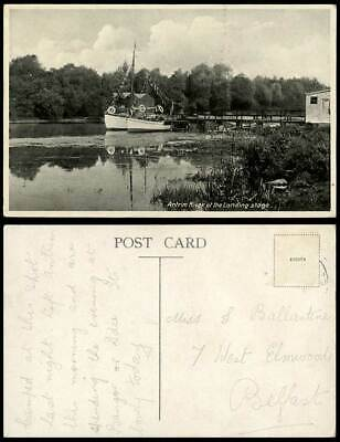 Northern Ireland Antrim River Scene At The Landing Stage Boats Quay Old Postcard • 5.99£