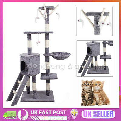 Large Cat Tree Tower Condo Furniture Scratching Kitty Kitten Play House Toy • 26.65£