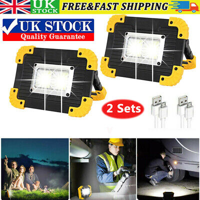 2X USB Rechargeable LED COB Work Light Camping Floodlight Emergency Lamp Outdoor • 11.79£