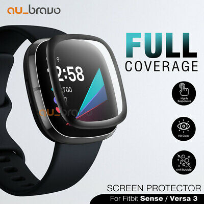 AU5.45 • Buy For Fitbit Sense/ Versa 3 Screen Protector 9H Tempered Full Coverage Glass Guard