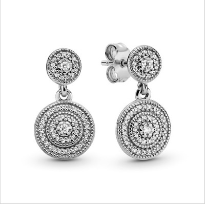 New Authentic Pandora 290688CZ S925 Silver Radiant Elegance Drop Earrings • 22.59£