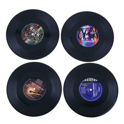 4pcs Retro Vinyl Record Coasters Cup Drinks Holder Mat Tableware Placemat • 5.08£
