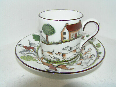 Coalport Hunting Scene Coffee Cup & Saucer Espresso Bone China 1st Quality  • 28£