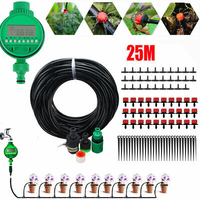 25M Automatic Drip Irrigation System Kit Plant +Timer Self Watering Garden Hose • 13.99£