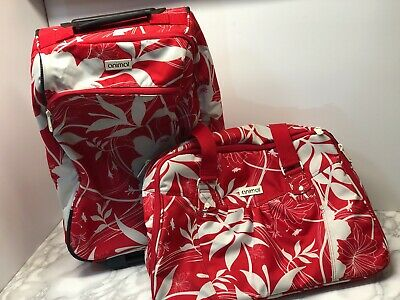 RETRO Animal Suitcase & Carry On Bag Tropical Red & White VINTAGE • 34.99£