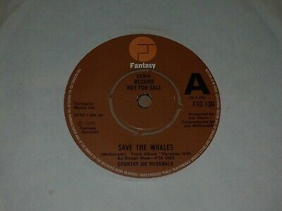 Country Joe McDonald  Save The Whales  Fantasy Demo 45 • 6£