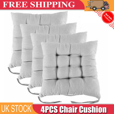 4PCS Square Thicker Cushions Chair Seat Pad Dining Room Garden Kitchen Office UK • 5.89£