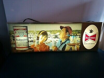 $ CDN378.92 • Buy (VTG) 1960s Budweiser Beer Guy & Girl On Lake Water Light Up Sign Anheuser Busch