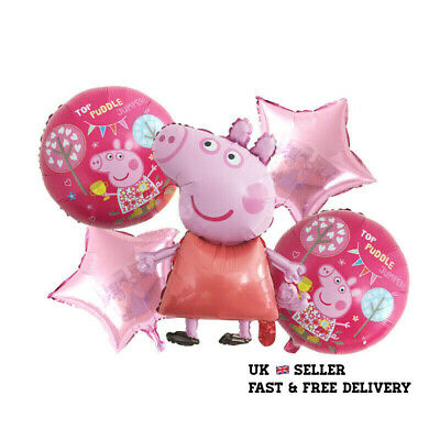 £5.99 • Buy 5pcs PEPPA PIG George Foil Balloons Birthday Party Decoration Air Helium Fill