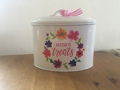 Mum's Treats Vintage Style Enamel Biscuit Tin Sweets, Chocolate Gift Idea Empty • 1.99£