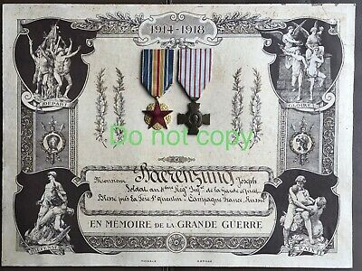 WW1 French Croix De Combatant And Wound Medal With Diploma Wounded St Quentin • 50£