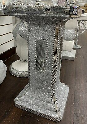Silver Crushed Mirrored Table Stand Mosaic Romany Bling 60cm -Home Decor Ceramic • 75£