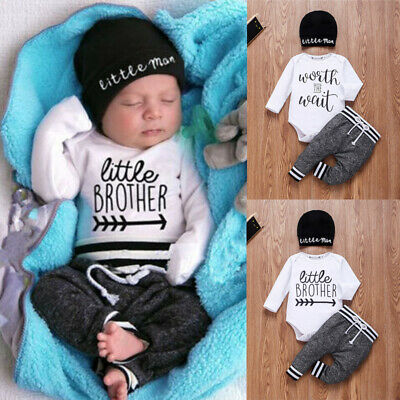 UK Newborn Baby Boy Matching Clothes Little Man Tops Romper Pants Brother Outfit • 8.99£