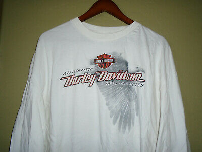$ CDN7.19 • Buy HARLEY DAVIDSON Long Sleeve T-Shirt HUNTINGTON BEACH Vtg WHITE EAGLE Mens : 2XL