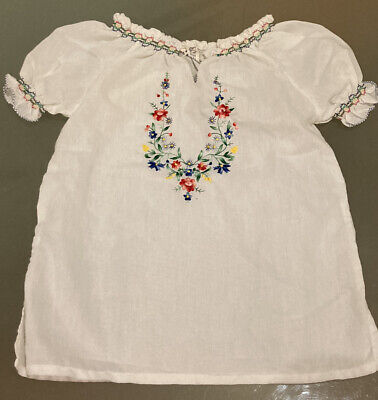Folk Peasant Gypsy Floral Stitched Embroidered Top Size S • 10£