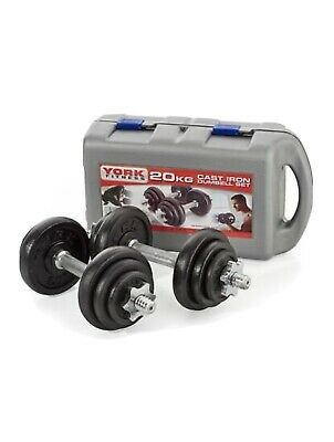 YORK 2429 Cast Iron Dumbbell Set And Case • 88.99£