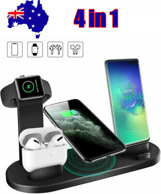 AU24.99 • Buy 4in1 Qi Wireless Charger Fast Charging Dock Stand For Airpods Apple Watch IPhone