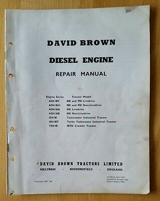 David Brown 850 950 880 Implematic Tractor Engine Service Manual • 14.99£
