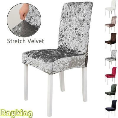 UK Crushed Velvet Dining Chair Covers Xmas Party Seat Slipcover Home Decor Grey • 18.49£
