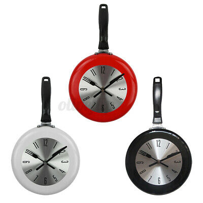 8'' Kitchen Wall Clock Frying Pan Small Novelty Design Metal Home Decor 3 Colors • 12.95£