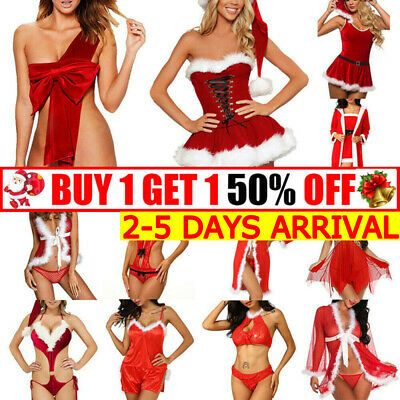 Women Lady Sexy Fur Red Christmas Underwear Lingerie Babydoll Dress Sleepwear TT • 4.98£