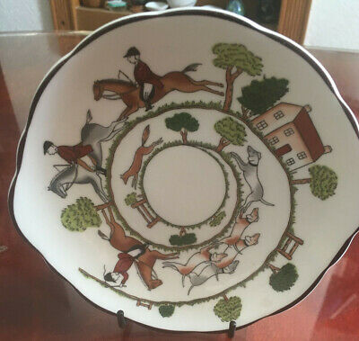 Coalport Hounds & Fox Hunting Scene Shallow Sweet Candy Dish Small Ear (20/10) • 18£
