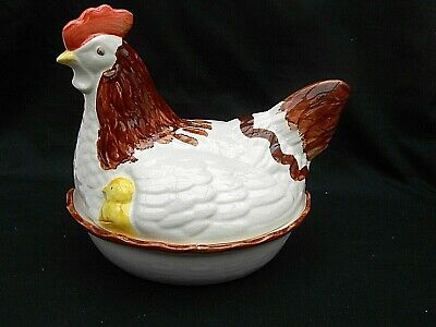 1950's Vintage Ceramic MOTHER HEN ON NEST Egg Basket Storage • 24.99£