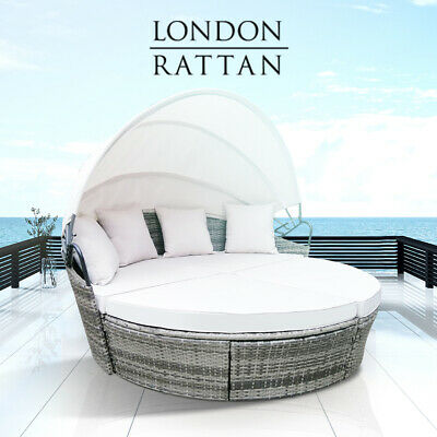 AU679 • Buy 【EXTRA10%OFF】LONDON RATTAN Day Bed Daybed Sofa Garden Wicker Round Grey