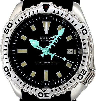 $ CDN13.90 • Buy Vintage Mens Watch SEIKO Auto. Diver 7002-7020 FISHBONE Mod W/Engraved SS Bezel