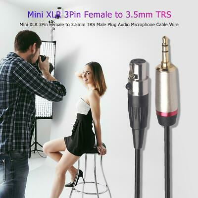Mini XLR 3Pin Female To 3.5mm TRS Male Plug Audio Microphone Cable Wire • 5.51£