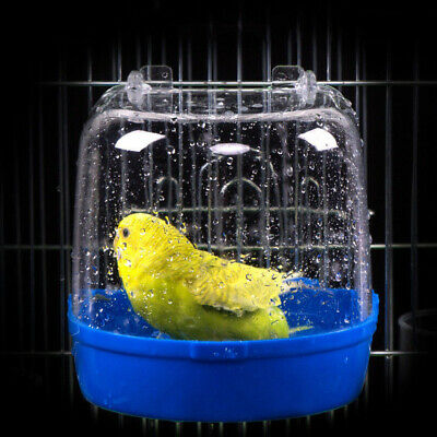 Plastic Parrot Bird Water Bath Box Bowl For Hanging Bathtub Lovebird Budgie Cage • 4.28£