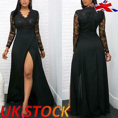 Womens Ladies Sexy Lace V Neck Front Split Maxi Dress Party Gown Evening Gown UK • 14.59£