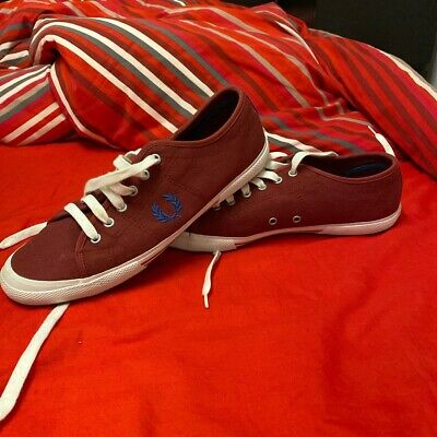 Fred Perry Red/Burgundy Tennis Canvas Trainers Pumps Casual Shoes Size UK 9 • 15£