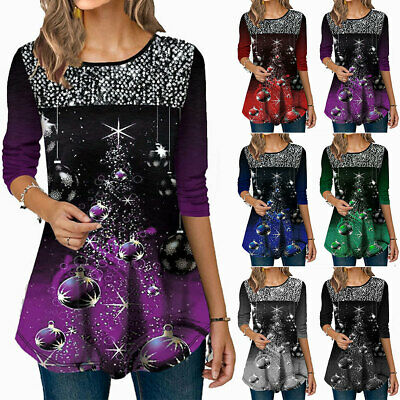 £9.68 • Buy Plus Size Womens Christmas Xmas Ball Sequin Jumper Pullover T Shirt Party Tops