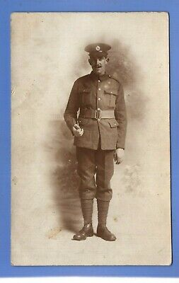 Superb Ww1 War Proud Soldier Army Officer ? In Uniform Rp Photo Postcard  • 0.99£
